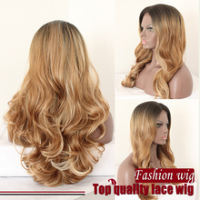 Long body wave Dark Roots Mixed Brown to Blonde Ombre Bottom Wavy Synthetic Lace Front Wig for black women