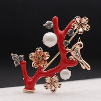 Retro Red Drops Of Oil Plum Branches Pearl Brooch Pin All Match Female Temperament Lover S