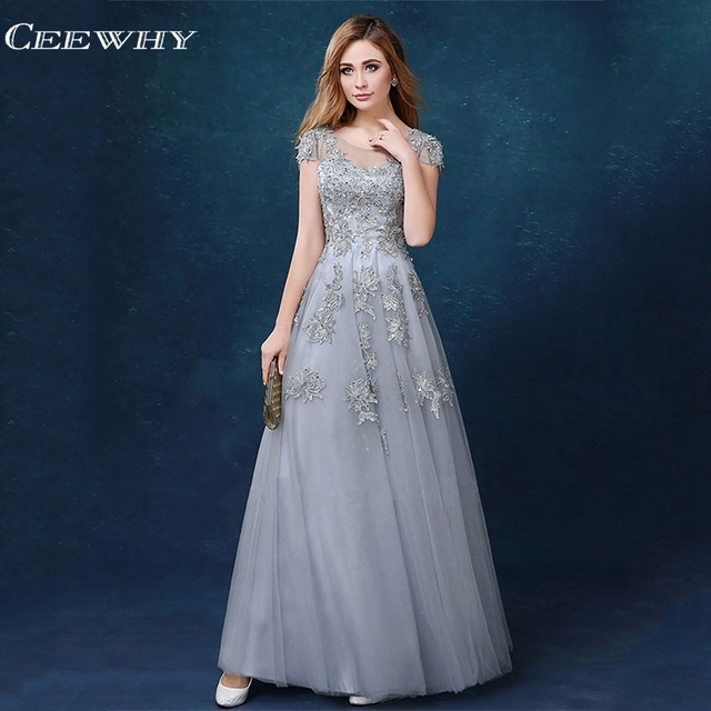CEEWHY Open Back Gray Embroidery Elegant Long Evening Dresses Plus Size Prom  Party Elegant Dress Robe De Soiree Evening Gown cd841e22e924