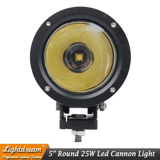 "4.7"" inch Round 25W Cannon LED Spot Driving Lights Work Lamp Offroad 4WD Truck Motorcycle led light cannon Clear Amber cover x1"
