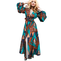Fashion Women Africa Dress Long Sleeve Trench Coat Dresses Bazin Riche Traditional African Print Floor Length Clothing WY4502