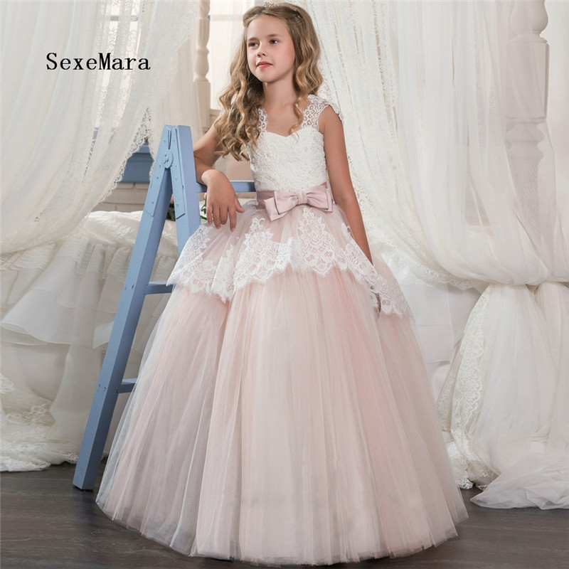 Flower Girl Dresses Ruffles Little Girls Dreses Pink Tulle White Lace Ball Gowns 0-16 Year Old 2018 First Communion Dresses картридж brother btd60bk для brother dcp t310 t510w t710w черный 6500стр