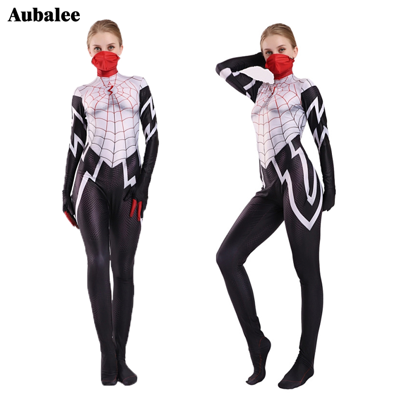 Woman Girls Amazing Spiderman Silk Jumpsuit Cindy Moon Spider Spandex Zentai Suit Halloween Party Into The Spider Verse Costume image