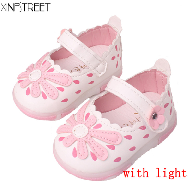 Baby Girls Shoes With Light Up Cute Flower Toddler Kids Shoes For Girls Infant Children Princess Shoes Size 15-25 ...