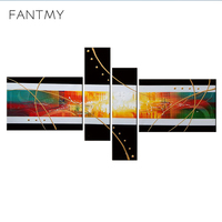 4pcs Oil Painting Ancient Times Handpainted DIY Abstract Creative Sets Canvas For Home Decoration Wall Art