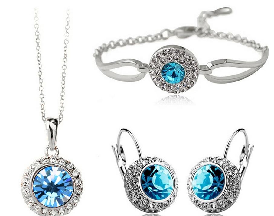 Rhinestone Vintage Moon River Crystal Jewelry Pendant Necklace bracelet Earring Brincos Jewelry Sets
