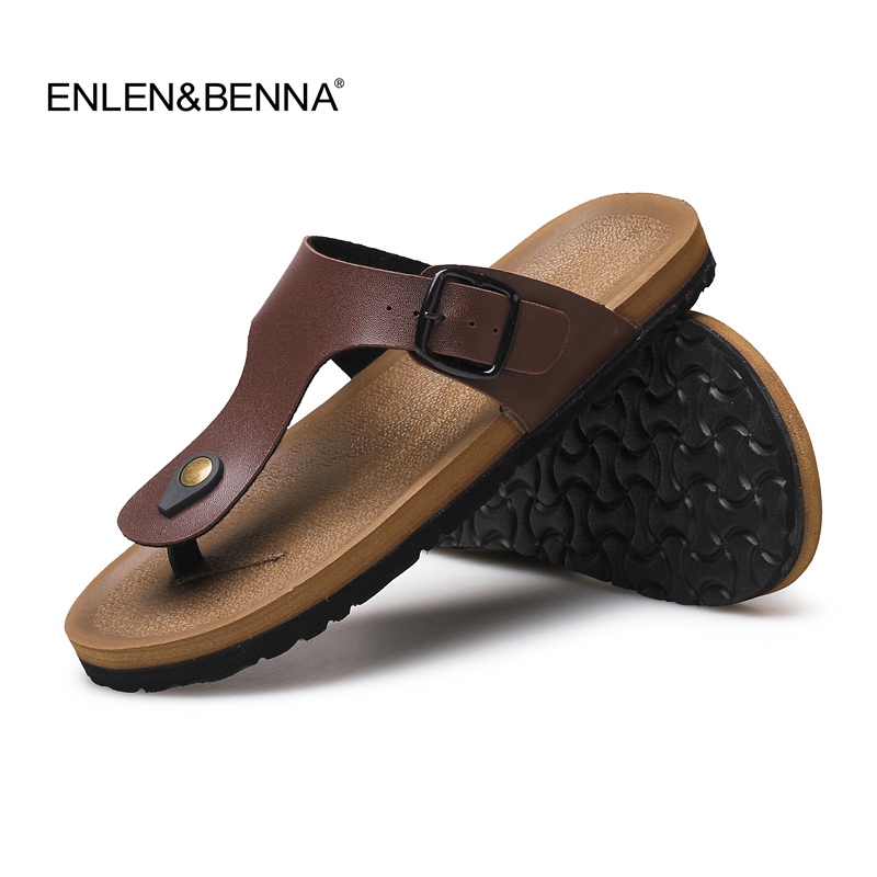2017 Pu Leather Sandals Men Black Brown Flip Flops Casual -2144