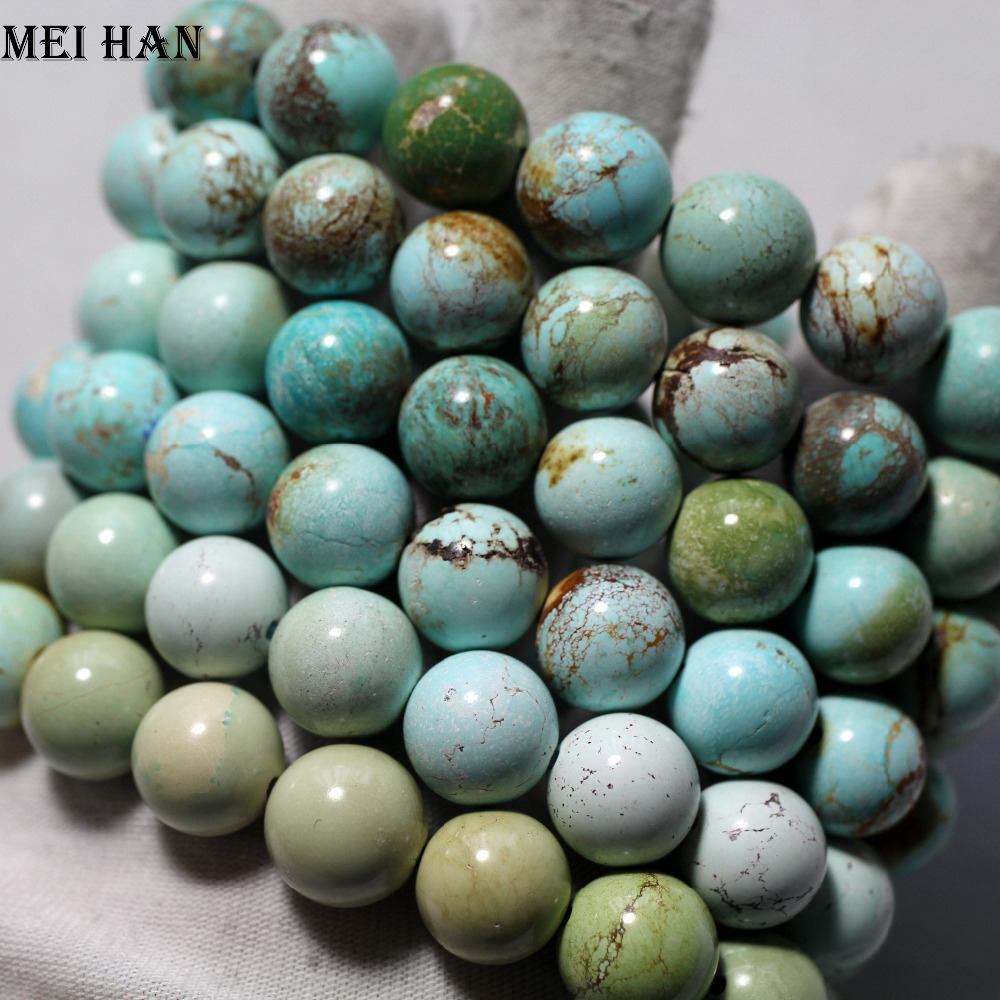 Wholesale 11 5 12 3mm 16beads 31g set rare Natural Hubei turquoisee bracelet untreated turquoisee beads