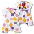 Estilo Mameluco Del Bebé del verano 100% Algodón 2 Estilos Lindo Punto de Impresión Amor Mamá y Papá de los Bebés Pijamas de Bebé Recién Nacido 1 unids HB056