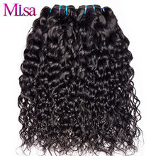 Mi Lisa Water Wave 4 Bundle Deals 100% Real Human Hair Weave Bundle Free Shipping Non Remy Hair Extensions Peruvian Hair Bundles(China)