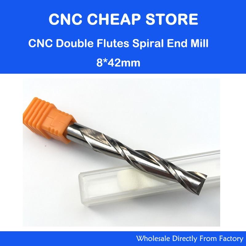 Envío gratuito Unid 1 unidad de carburo sólido 8mm Endmill doble dos flauta espiral Bit CNC Router Bits CED 8mm CEL 42mm flauta larga extender más