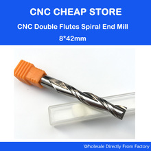 Free Ship 1pc Solid Carbide 8mm Endmill Double Two Flute Spiral Bit CNC Router Bits CED 8mm CEL 42mm Long Flute Extend Longer