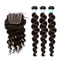 Loose Wave Human Hair Bundles With Closure 3pcs Brazilian Hair Weave Bundles With Closure 4x4 Remy Hair Natural Color SunnyQueen