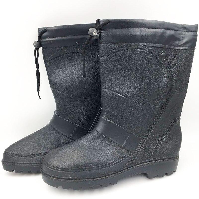 Hommes Mode Plate Black Jardin Épaissie M056 mollet Chaussures Rainboots Mi Pvc Étanche Hiver Peluche Rainshoes Aleafalling Moto forme En F8wAYqZF