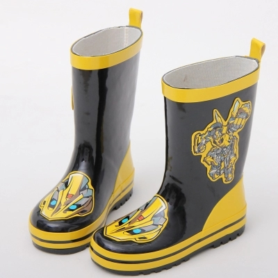 kids rain boots transformer cartoon 100% rubber anti slip snow shoes yellow black rain boots for baby boy kids child special package mail between children s rain boots shoes cartoon water hero boy league men s shoes boots