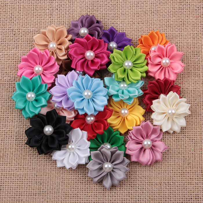 10pcs/lot 3.5cm 24 colors Satin Ribbon Flower With Pearl Center For Baby Girls Hair Accessories Fabric Flowers For Headbands 50pcs lot 4 1 17colors shabby lace mesh chiffon flower for kids girls hair accessories artificial fabric flowers for headbands