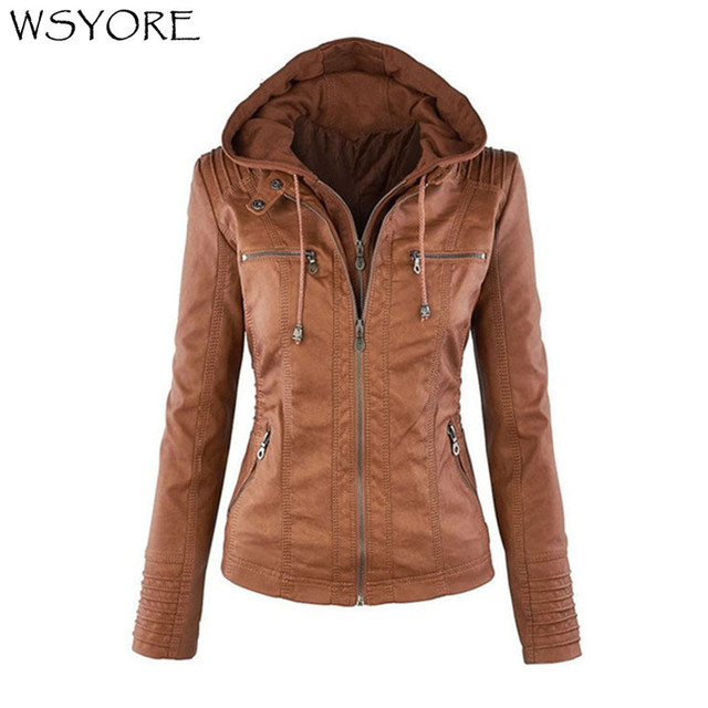 WSYORE Plus Size Leather Jacket Women Autumn and Winter Hooded Long-sleeve Slim Jackets Faux Leather Jacket Woman's Coat NS692