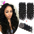 3 pcs Indian Virgin Hair with closure Natural Wave 7A Virgn Curly Human Hair with Closure Raw Virgin Indian Hair with Closure