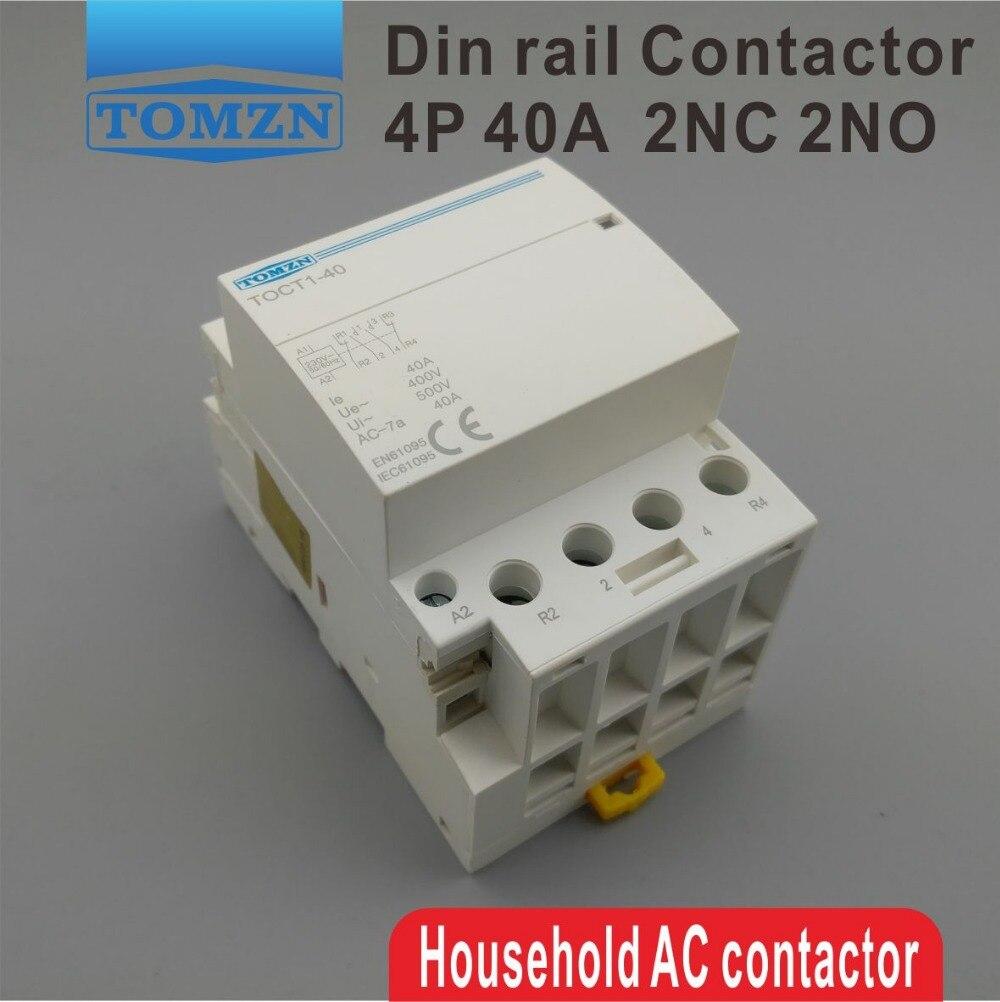 TOCT1 4 P 40A 2NC 2NO 220 V 400V ~ 50/60 HZ rail Din Ménage ac contacteur Modulaire