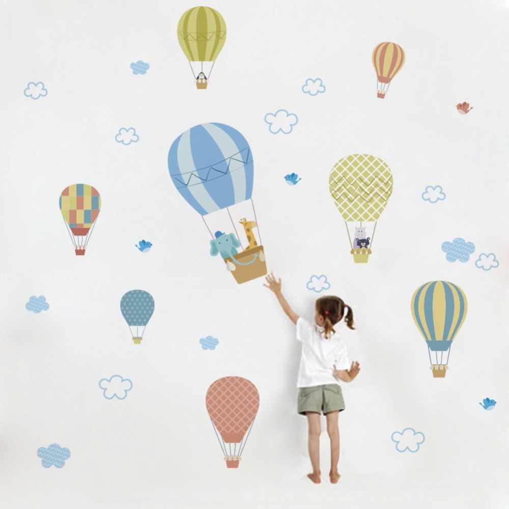 e10ff54867e9d Watercolour Hot Air Balloon Cute Animal White Cloud Removable Wall ...