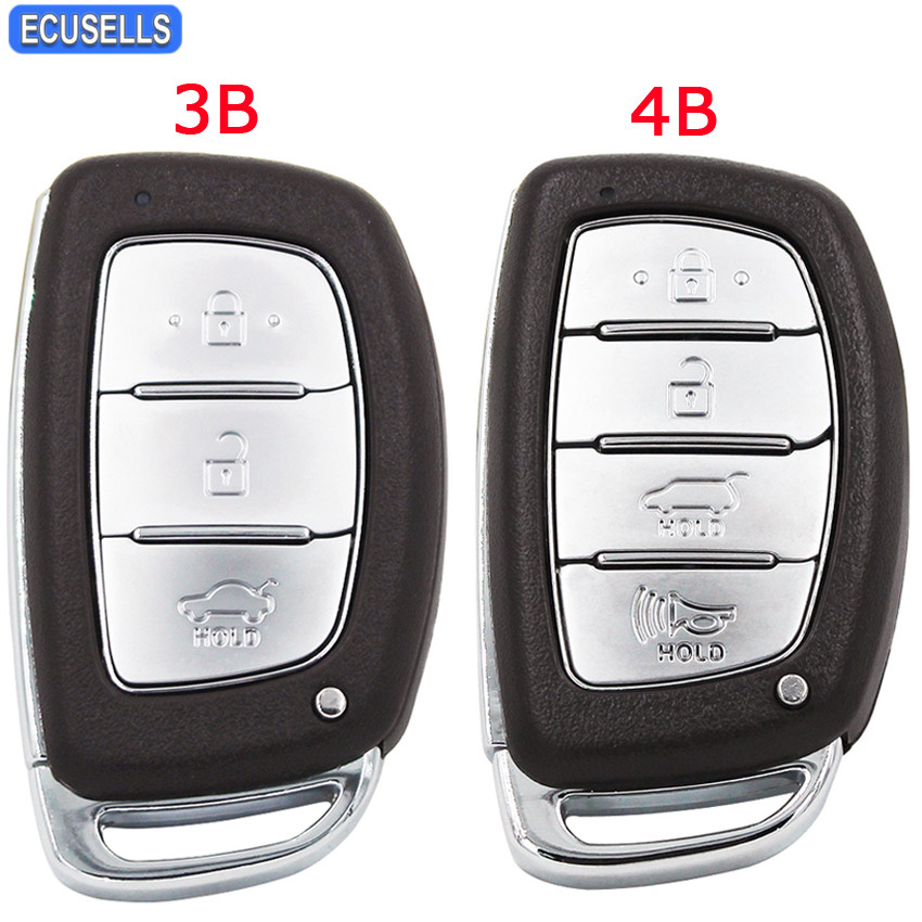 3/4 Button Remote Key Shell Case Smart Car Key Housing Cover For Hyundai IX25 IX35 Elantra Sonata With Insert Key Uncut Blade