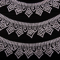 Delicate Pendant Rhinestone Crystal Chain Trims DIY Necklace Neckline of Dress Swimwear Shirt Costume Belt Silver 1 yard 4.3 cm