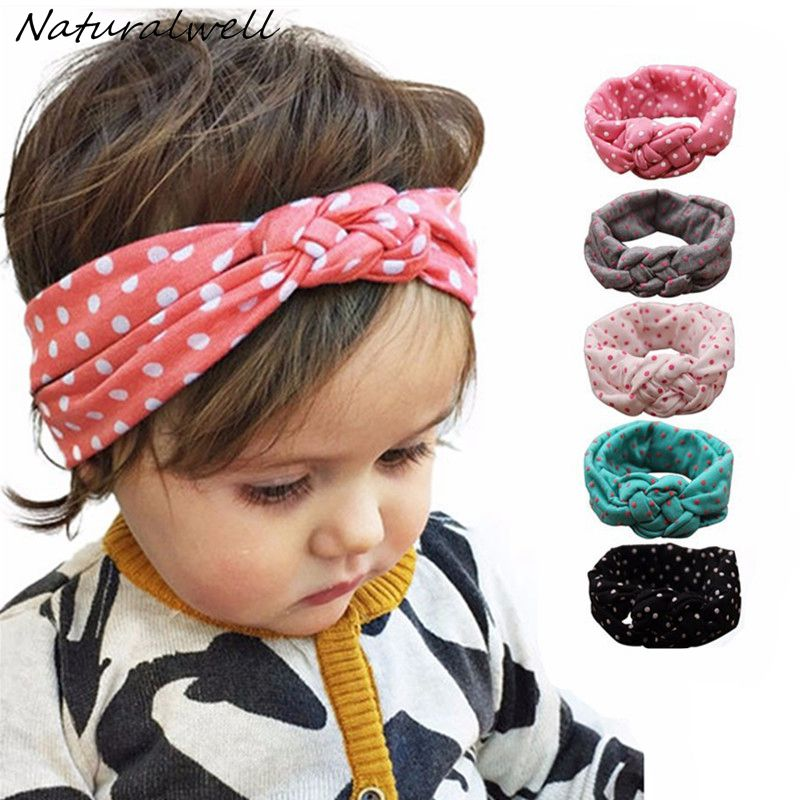 Naturalwell Baby Girls Knot Headband Děti Polka Dots Elastický Headwrap Dětský Cross Turban Wide Twisted Hair Accessories 1ks HB444