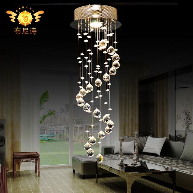 Moda crystal led luz pendiente moderna escalera l mpara - Lamparas de escalera ...