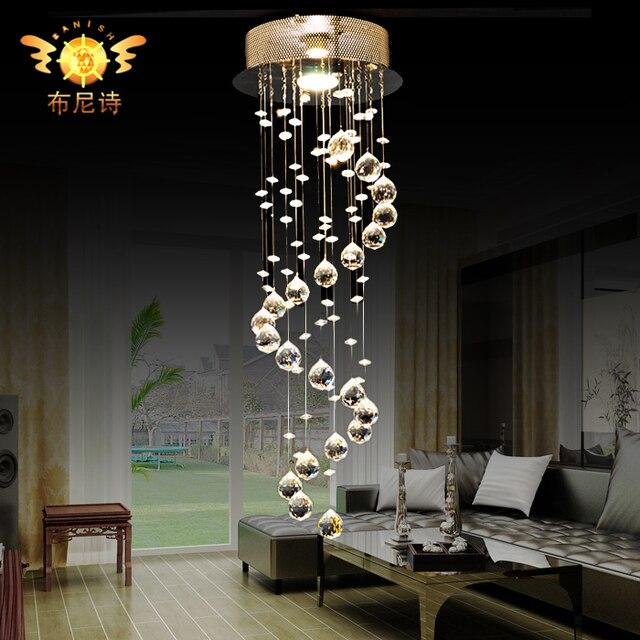 Moda crystal led luz pendiente moderna escalera l mpara - Colgantes de cristal para lamparas ...