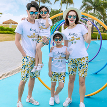 Mom Daughter Bee Print Summer T-shirt and Short Pants Set Family Match Outfit 2 4 6 8 10 12Y Boy Girls Beach Suits New Style