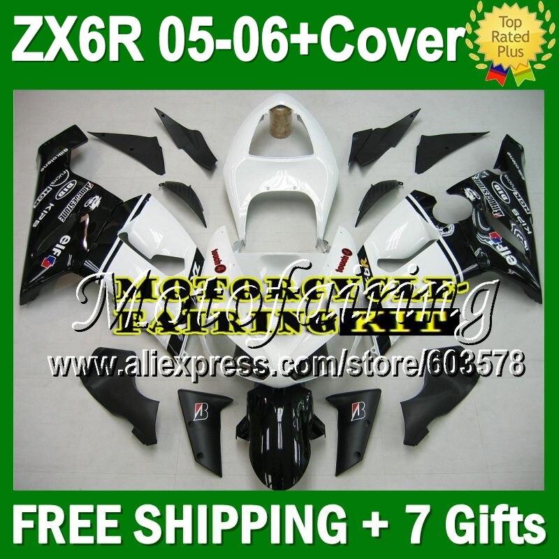 7 подарки + контейнер крышка зализа для KAWASAKI ниндзя ZX6R 05 06 ZX 6R 636 черный белый JM918 ZX 6R ZX636 05 06 2005 2006 blk