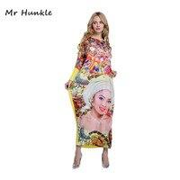 2017 New Cute Print Dresses Flare Sleeve Pattern Beauty Face Leopard Women Maxi Dress Vestidos African