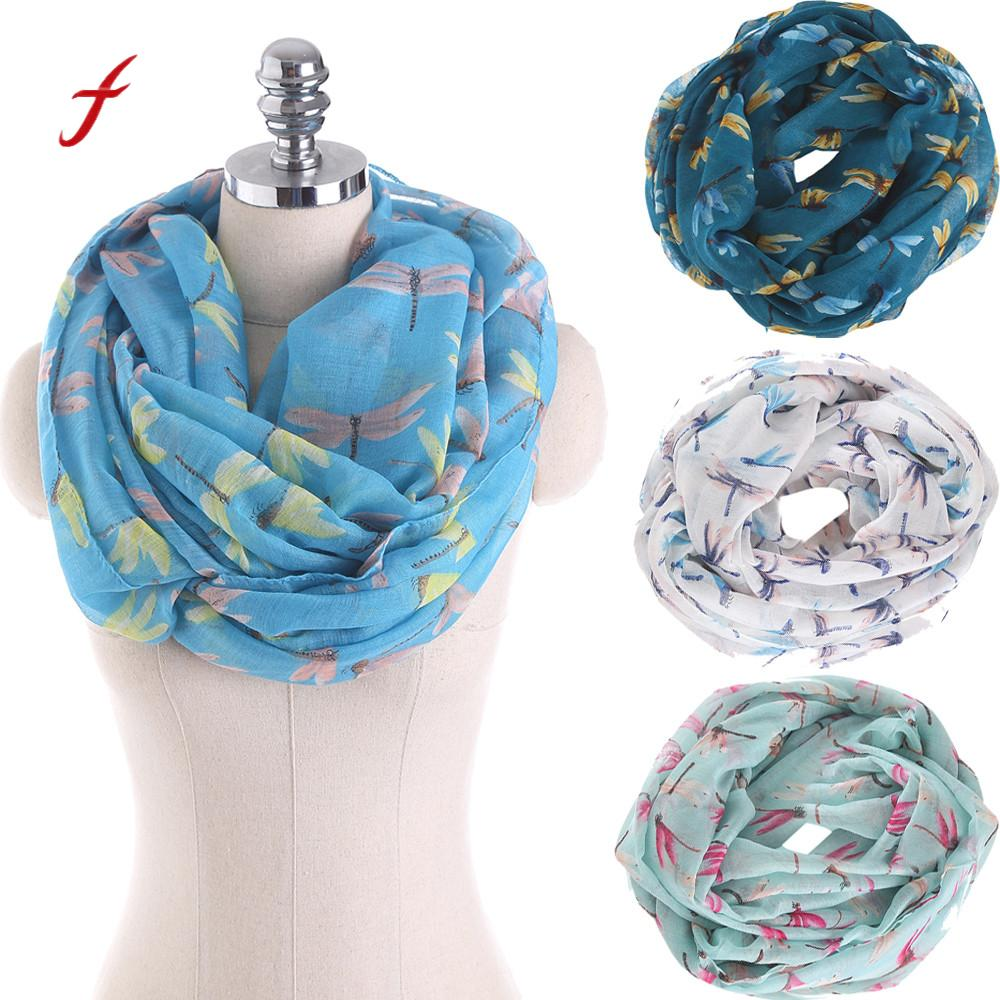 FEITONG Female scarf Women Ladies Skull And Crossbones Pattern Print Voile Wrap Shawl Scarf O ring scarf-collar Scarve 2018(China)