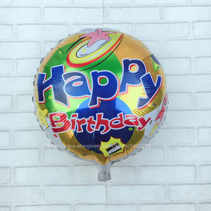 XXPWJ Free shipping Hot 5pcs / lots aluminum circular happy birthday balloons pa