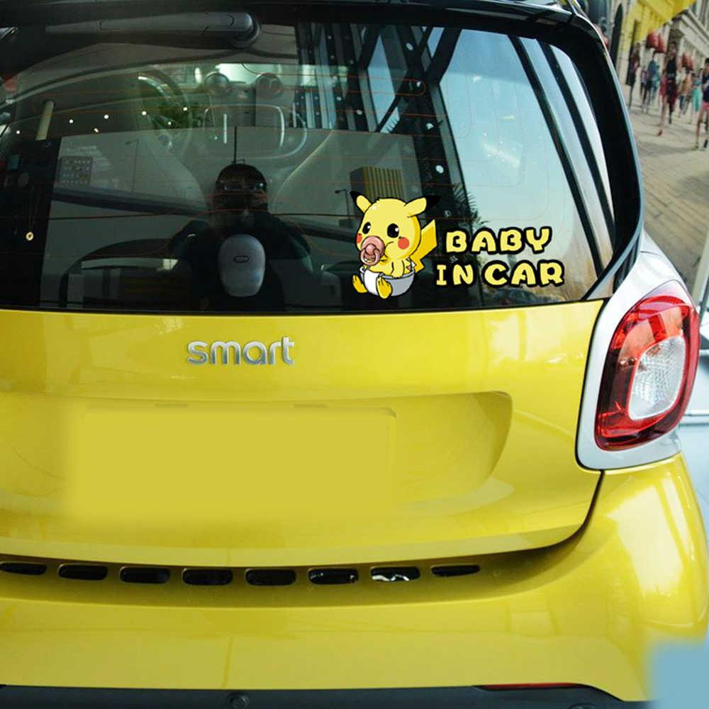 Dessin animé Pikachu Pokemon aller bébé dans voiture autocollants et décalcomanie pour Volkswagen Polo Skoda Golf Opel Peugeot 307 Renault Bmw E39 Ford