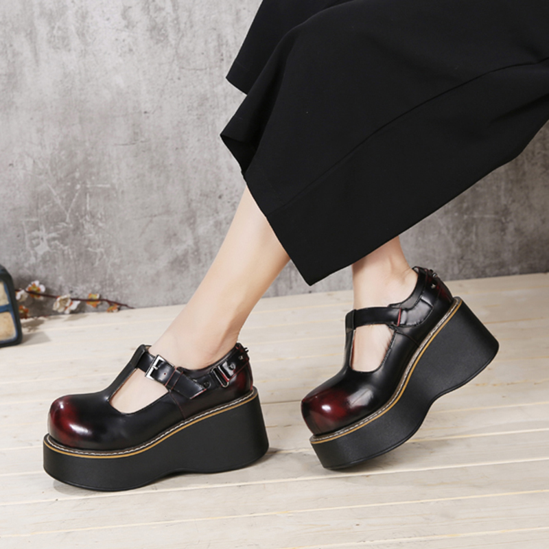 2018 VALLU Women High Heel Shoes Platform Wedges Pumps Genuine Leather Round Toes Rivet Buckle Retro