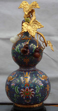 zm JP S1065 22 Palace Copper Cloisonne inlay Agate jade Longevity wealth calabash gourd Vase Discount35%(China)