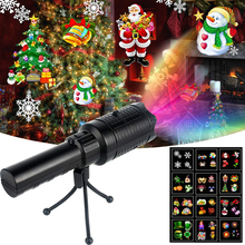 USB Rechargeable LED Christmas Projector Lights 2 in 1 Projection Handheld Flashlight with 12 Patterns for Christmas Halloween