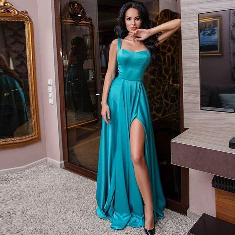 Robes De soirée Vestido De Festa 2019 a-ligne bretelles longueur au sol Turquoise Satin robe De bal avec fente Abendkleider