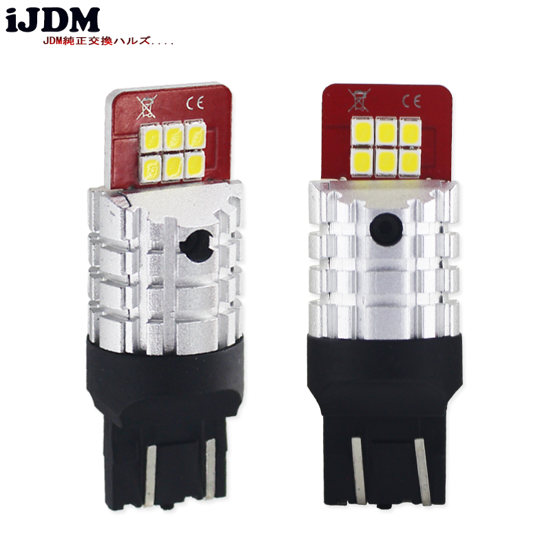 iJDM 7443 LED T20 W21/5W SRCK Led Bulb Bright 12V Canbus Car Brake Reverse Parking DRL Fog Light Backup Lamp White Yellow Red
