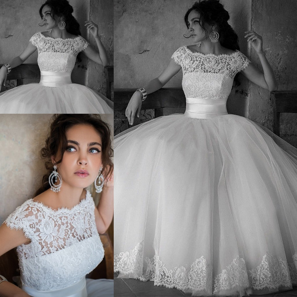 Newest Ball Gown Romantic Appliques Bottom Lace Top Tulle Wedding ...