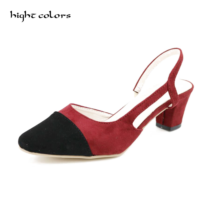 33 43 Women 39 s Shoes Thick Heel Slingback Pumps Sandals For Women Sexy Casual Back Strap Summer Elegant Dress Shoes Brand DXM37 in High Heels from Shoes