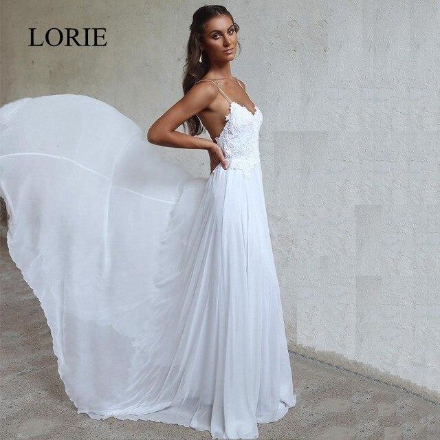 LORIE 비치 웨딩 드레스 스파게티 스트랩 2018 로브 드 soiree 빈티지 레이스 탑 우아한 여성 Boho 쉬폰 롱 브라 드레스