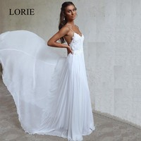 LORIE Beach Wedding Dresses Spaghetti Straps 2018 Robe de soiree Vintage Lace Top Elegant Women Boho Chiffon Long Bridal Dress