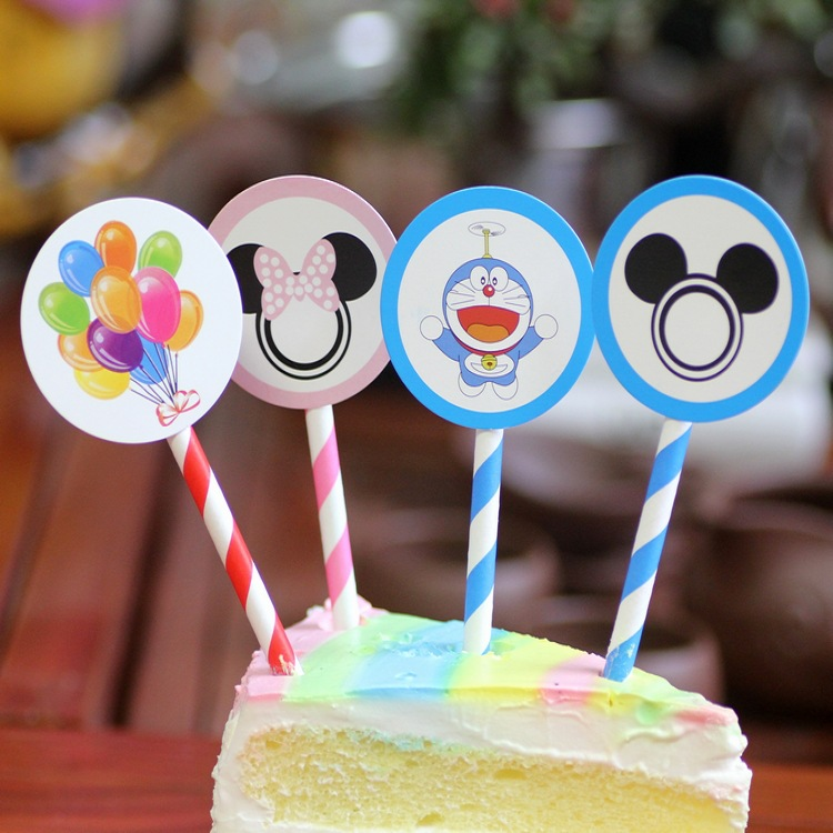 6pcs Mickey Minnie Mouse CupcakeTopper picks Cake Flags Baby
