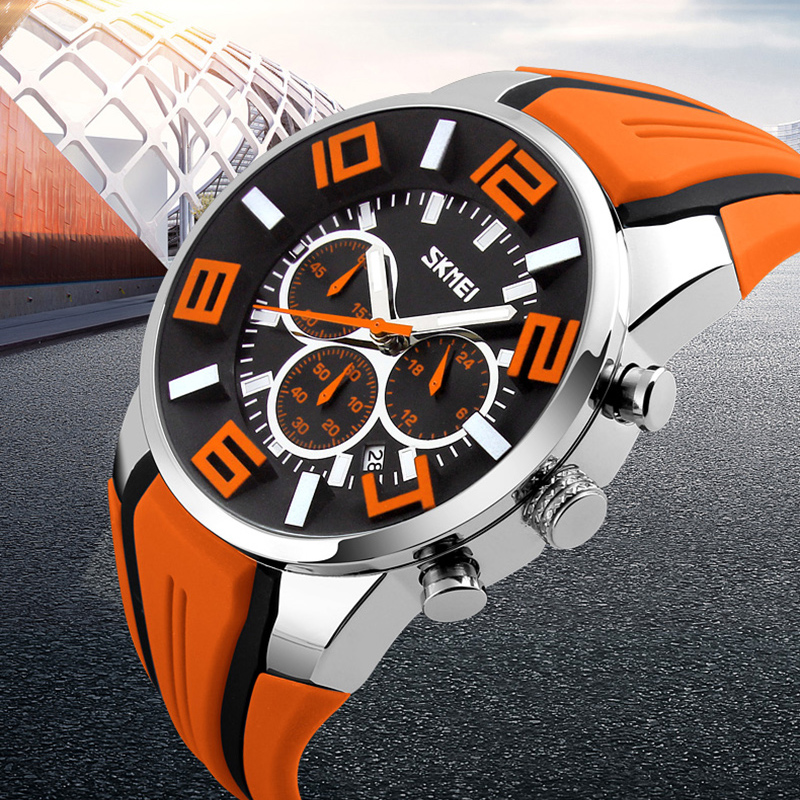 Watches Men Luxury Brand SKMEI Chronograph Men Sports Watches Waterproof Male Clock Quartz Men's Watch reloj hombre 2018-in Quartz Watches from Watches