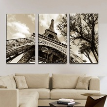 Art Modern Framework Picture Canvas-maalaus Pariisi 3 Panel City Eiffel Tower Wall modulaariset kuvat Olohuoneen sisustus