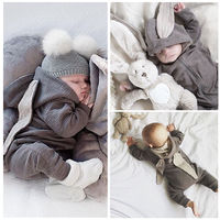Brand New Baby Rompers Autumn Winter Gray Cartoon Rabbit Infant Baby Boy Jumpers Hooded Newborn Baby