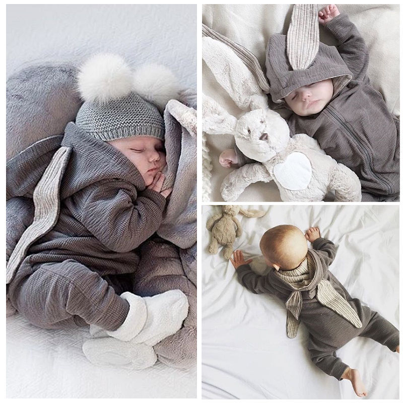Brand New Baby Rompers Autumn winter gray Cartoon Rabbit Infant baby Boy Jumpers Hooded newborn baby boys clothes