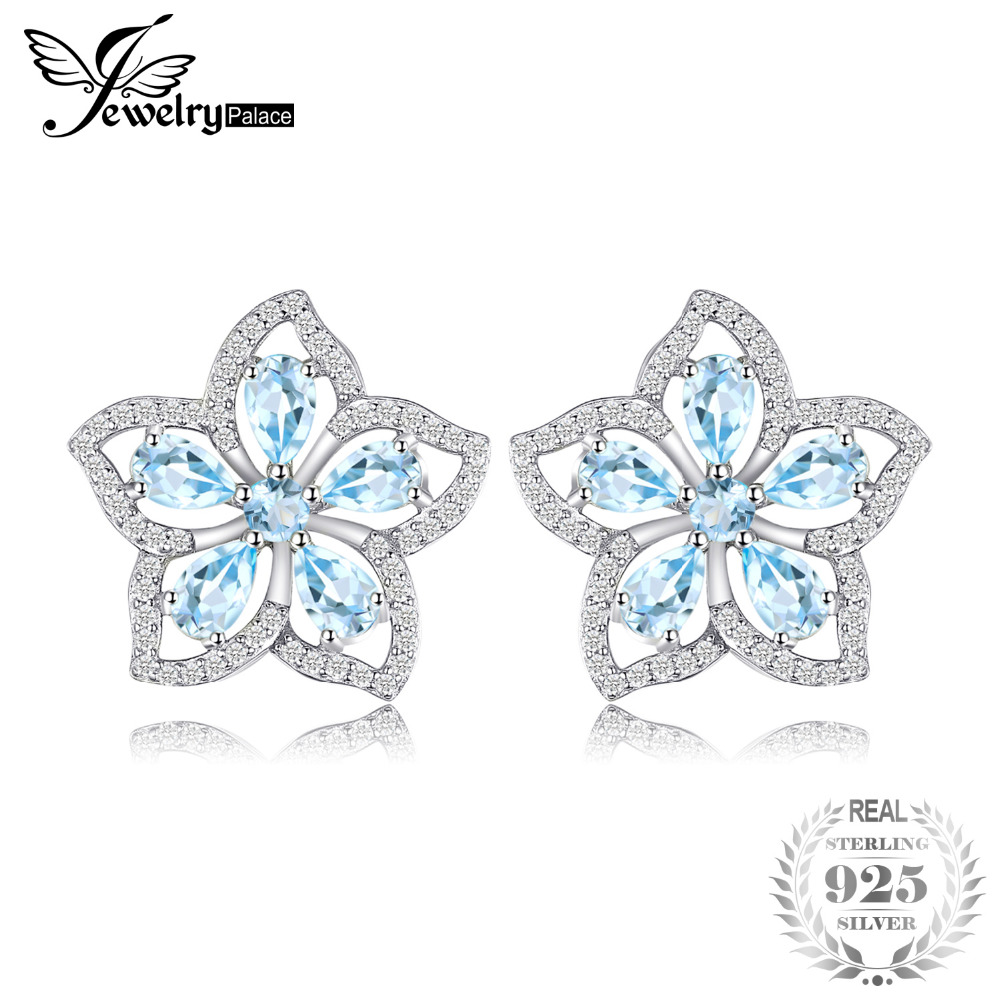 JewelryPalace Flower 2.3ct Natural Sky Blue Topaz Stud Earrings 925 Sterling Silver Trendy Earrings For Women Charms Brand new pure 925 sterling silver stud earrings women s starry sky earrings